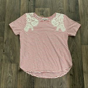 LOFT Striped Embroidered Tee